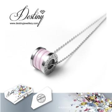 Destino joias cristais de Swarovski pingente de colar de cerâmica