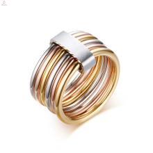 Aço inoxidável personalizado pilha ouro spinner anel