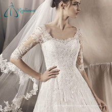 Half Sleeve Lace Appliques Tulle Satin Sexy Beach Wedding Dresses
