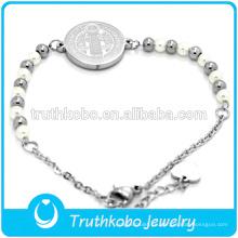 Brazalete de joyería religiosa de rosario de acero inoxidable Moneda simple Jesús Diseño Brazaletes