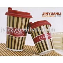 420cc высокий керамическая кофейные кружки с крышкой силикона