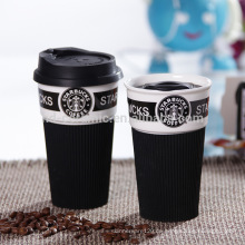 Keramik-Starbucks-Cup mit Silikon-Deckel, Starbucks-Kaffeetasse, Keramik-Reisebecher