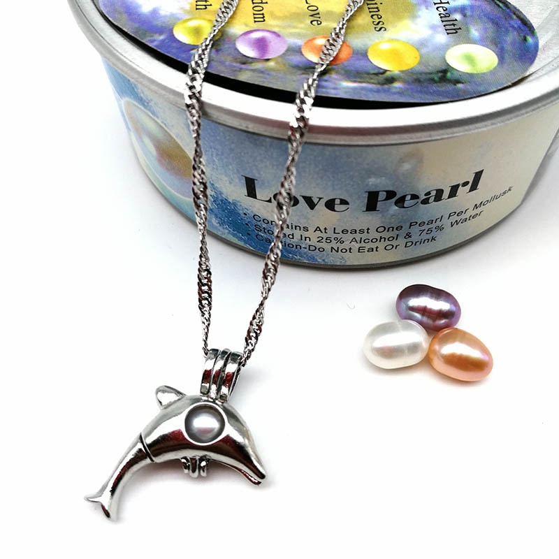 Pearl Dolphin Pendant Necklace Jewelry