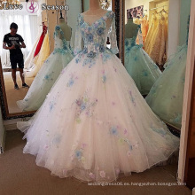 LS00102 los últimos patrones occidentales del vestido para las señoras cola larga vestido de bola una línea vestidos largos de la manga vestido de boda nupcial