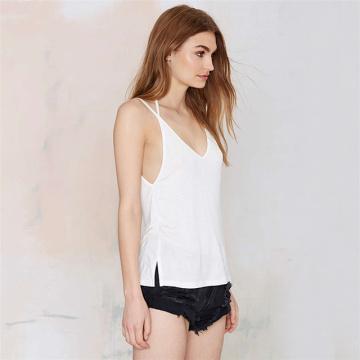 Backless Strap Halter Mujeres con cuello en V Sexy Tank Top