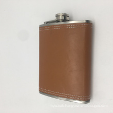 custom logo 8oz  stainless steel hip flask set pocket wine drinking bottle wrapped by leather