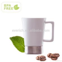 Taza cerámica de 480ml para café y té con mango y base de acero inoxidable, sin BPA