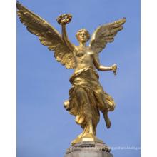 bronze fundição famoso grande decoração ao ar livre estátua de anjo dourado