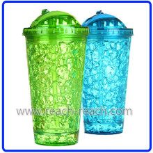 400ml doppelwandig Kunststoff Eis Becher mit Stroh (R-7031)