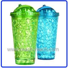 400ml taza de hielo de plástico de doble pared con paja (R-7031)