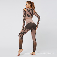 Sport Fitness Seamless Yoga Set Suit Camouflage Workout Clothes Gym for Women Leggings Breathable Long-sleeved Yoga suit