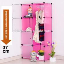 Boîte en plastique rose de rangement de boîte de rangement avec le système d'enclenchement de stockage de rail de vêtements organisant l'armoire de stockage