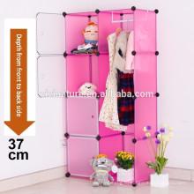 Розовый пластиковый Ящик для хранения куб шкаф со штангой для хранения взаимосвязанных Организатор системы шкафа хранения