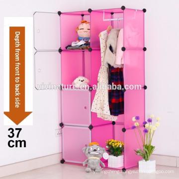Pink Plastic Wardrobe Storage Box Cube with Clothes Rail Storage Interlocking System Cabinet Organiser Storing