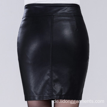 Frauen Sexy Office PU Leder Minirock Kleid