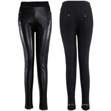 Pantalon en cuir PU avec fermeture à glissière