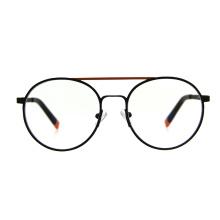 Unisex Stainless Steel Spring Hinge Ready Stock Double Bridge Round Frames Eyeglasses