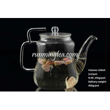 Wholesale Borosilicate Glass teapot with Stainless Steel Insert Spout ,420cc