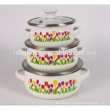 BSCI factory 3 pcs enamel mimi casserole pot set with glass lid high quality