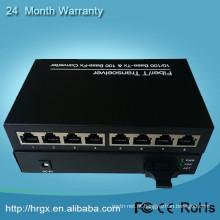 Sistema de rede conversor de mídia óptica 100 M 1000 M conversor de mídia poe 1 fibra + 8 ethernet rj45 porta