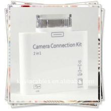 2 em 1 leitor de cartão para Apple iPad Camera Connection Kit