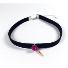 Sorvete rosa de veludo com largo rubi colar acessórios moda joias