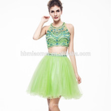 2017 Дамы Красивый Зеленый Цвет Бисера Hsexu Назад Открытых Вечернее Платье
