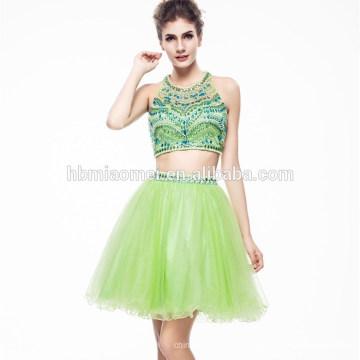 2017 Senhoras Lindas Cor Verde Frisada Hsexu Voltar Aberto Vestido de Noite