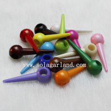 Opaque Colors Acrylic Stick Spike Bicone Beads Charm for Bracelet