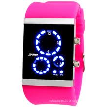 Relógio digital de silicone colorido com impermeável