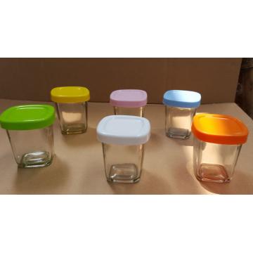 Pouding au verre bocal en verre avec couvercles de couleur différente