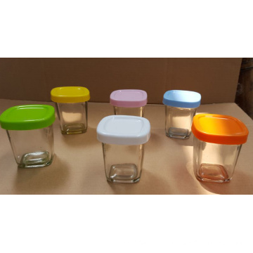 Glass Pudding Glass Jar with Different Color Lids