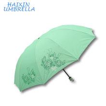 OEM и ODM стальная Рама большой Размер 28 дюймов изготовленный на заказ Логос 3 раза Защита от Солнца зеленым зонтиком с серебряным покрытием для женщин