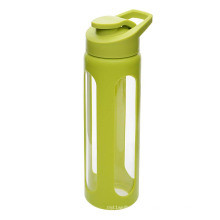 Eco-friendly Glass Protein Shaker Water Bottle with Silicon Sleeve Glass Water Bottle 1000ml