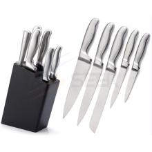 5 pedaço de aço inoxidável oco lidar com faca de cozinha conjunto (A24)