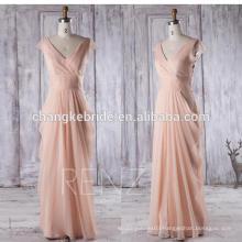 Peach Chiffon Bridesmaid Dress Cap Sleeve Maxi Dress Long Wedding Dress Draped Party Dress V neck Formal Dress