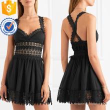 Crochet Dentelle Coton Sans Manches Noir Mini Robe D'été Pour Fille Sexy Fabrication En Gros Mode Femmes Vêtements (TA0295D)