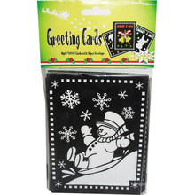 niños bricolaje creativo tarjeta de felicitación de pintura de Navidad dibujo tarjeta de muñeco de nieve