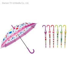 The Long Stick Opens The Silk Print Kids Umbrella Automatically