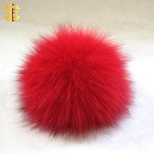 Top Ball auf Winter-Beanies Großhandel Real echte Fox Pelz Ball Schlüsselbund oder Buttons Färben Fox Pelz Pom Poms