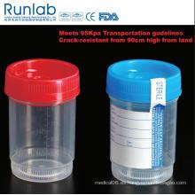 Recipiente para muestras de análisis de orina de 90 ml registrado por la FDA y con la marca CE
