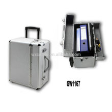 portable aluminum briefcase with 2 wheels from China manufacturer high quality