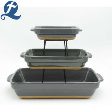 High quality decal colorful rectangular bread bakeware set