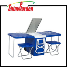 New Multi Function Möbel Rolling Cooler mit Tisch und 2 Stühlen Klapp Outdoor Camping Picknicktisch
