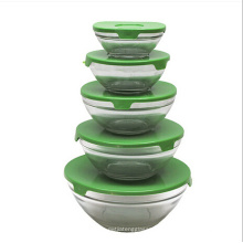 NEW!! All Purpose Glass Bowl and Food Containers 5 Pcs Set Glassware Custom Printed Bowl with lid