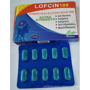 GMP Certificated Tablets Vitamins B1+B6+B12+Diclofenac Sodium, Vitamin-B Complex