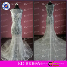 Real Sample Mermaid Jewel Cap Sleeve Beaded Transparent Fashion Evening Dress 2014