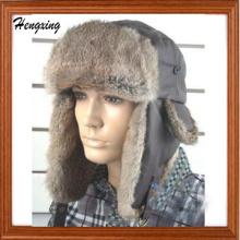 Зимние природные Рэббит меховые шапки-ушанки