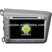 Reproductor de DVD del coche Android System para 2012 Honda Civic con GPS, Bluetooth, 3G, iPod, juegos, zona dual, control del volante