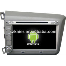 Android System lecteur dvd de voiture pour 2012 Honda Civic avec GPS, Bluetooth, 3G, ipod, jeux, double zone, contrôle du volant